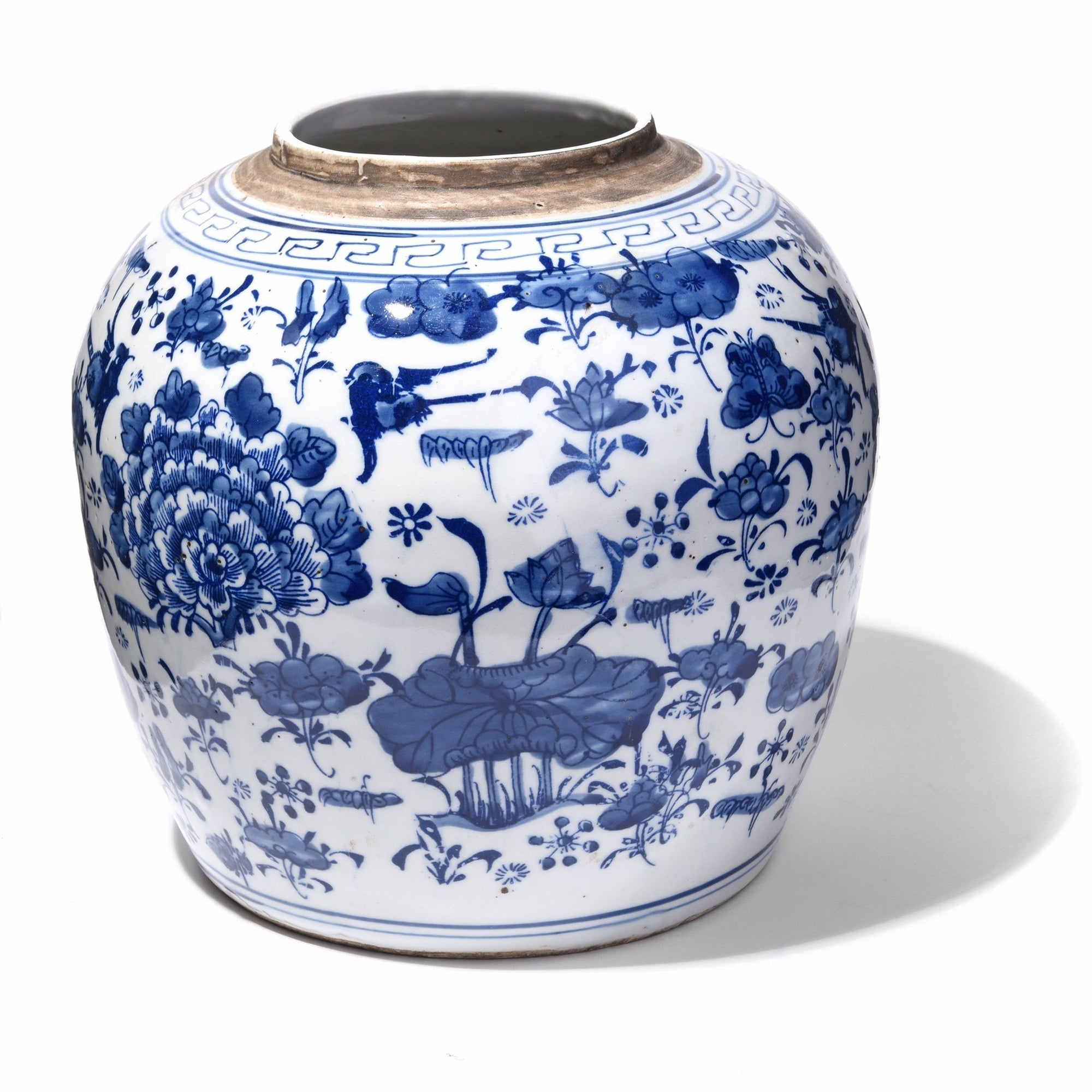 Blue & White Porcelain Ginger Jar - Peony & Butterfly Design | Indigo Antiques