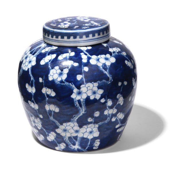 Blue & White Porcelain Ginger Jar - Prunus Design