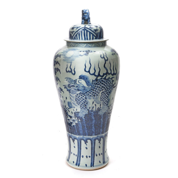 Blue & White Porcelain Tall Temple Jar And Cover