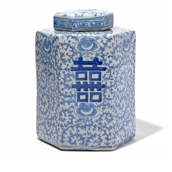 Blue & White Porcelain Tea Caddy - Double Happiness Design