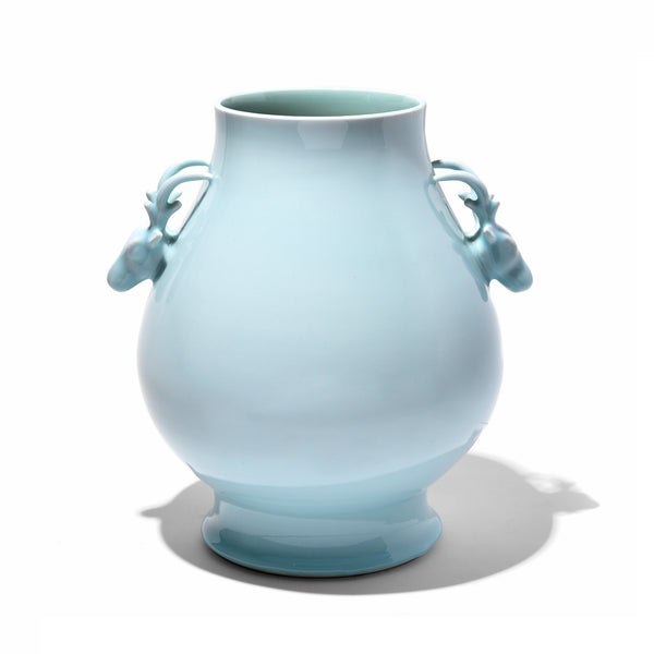 Celadon Porcelain Deer Handle Vase