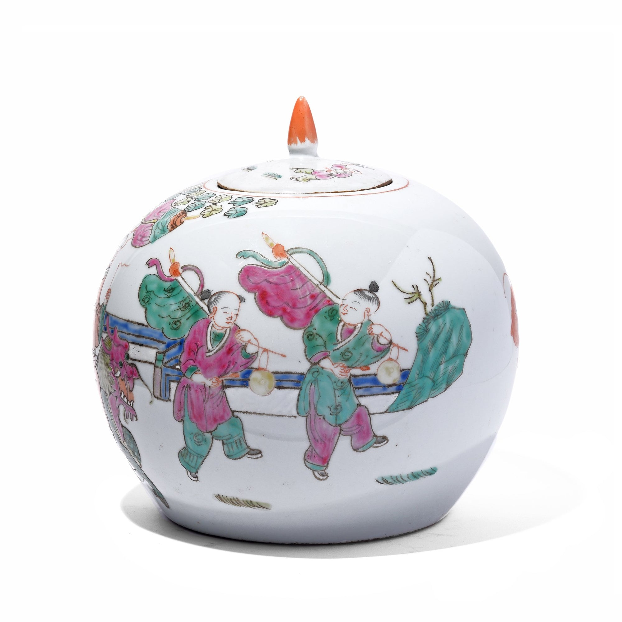 Chinese Reproduction Famille Rose Porcelain Ginger Jar With Lid
