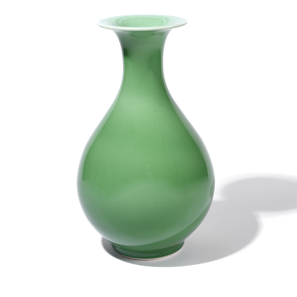 Green Celadon Tall Trumpet Mouth Flower Vase