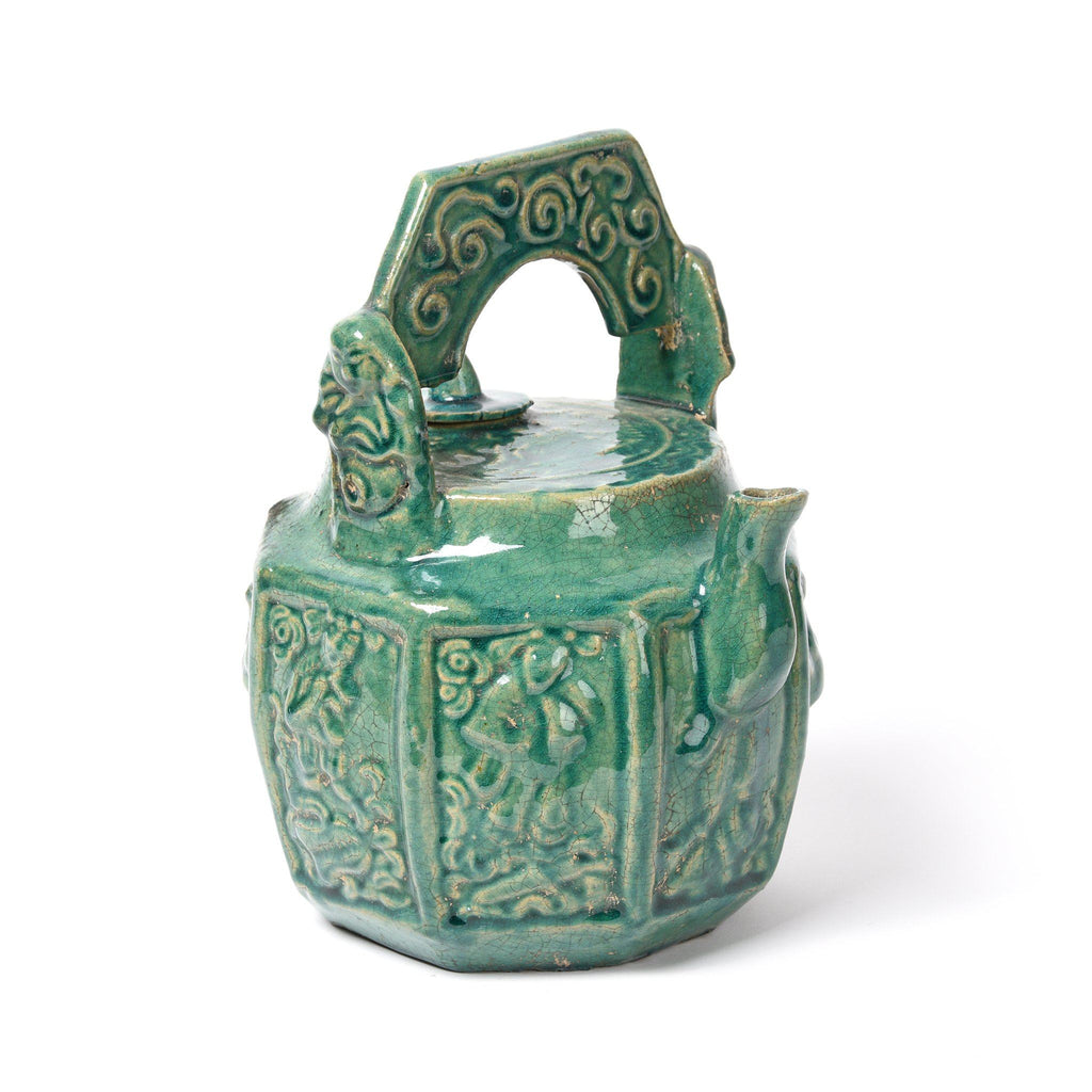 Green Earthenware Tea Pot