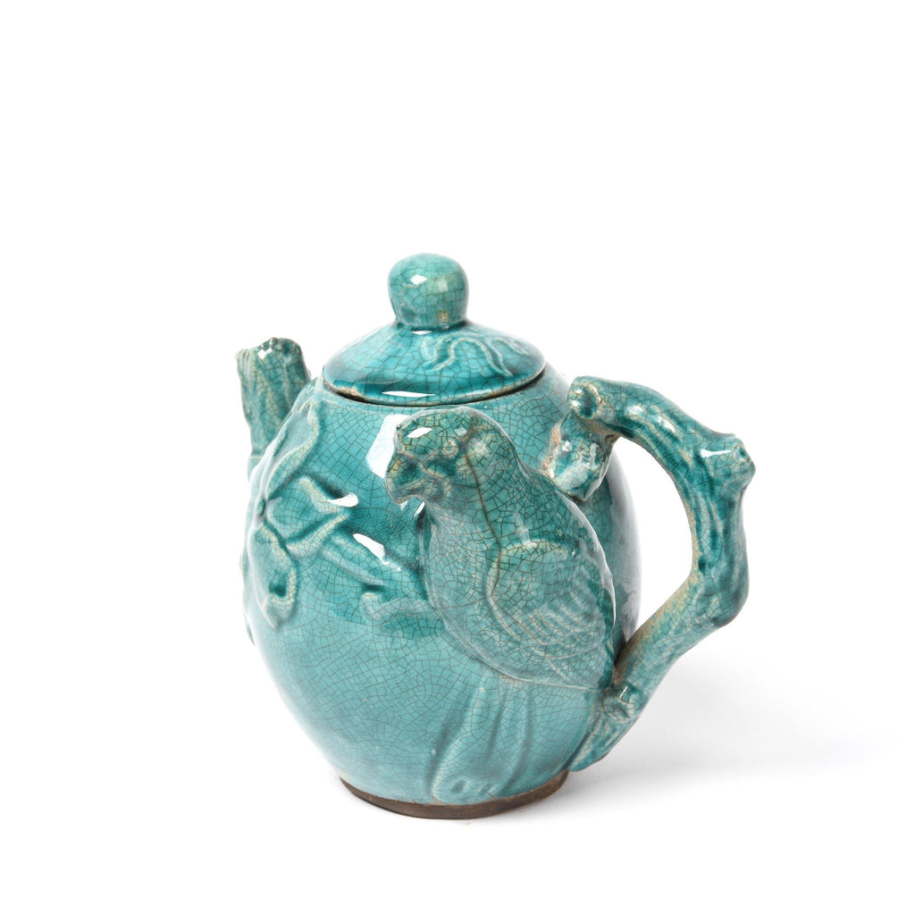 Green Earthenware Teapot - Parrot Design