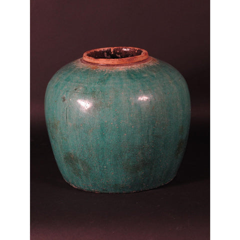 Green Glazed Rice Jar  80 - 100 Yrs Old
