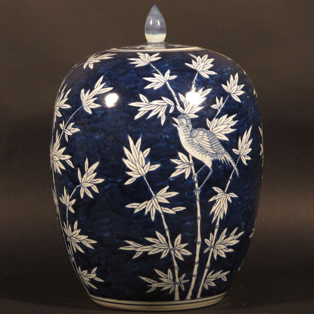 Porcelain Rice Pot Bamboo Design