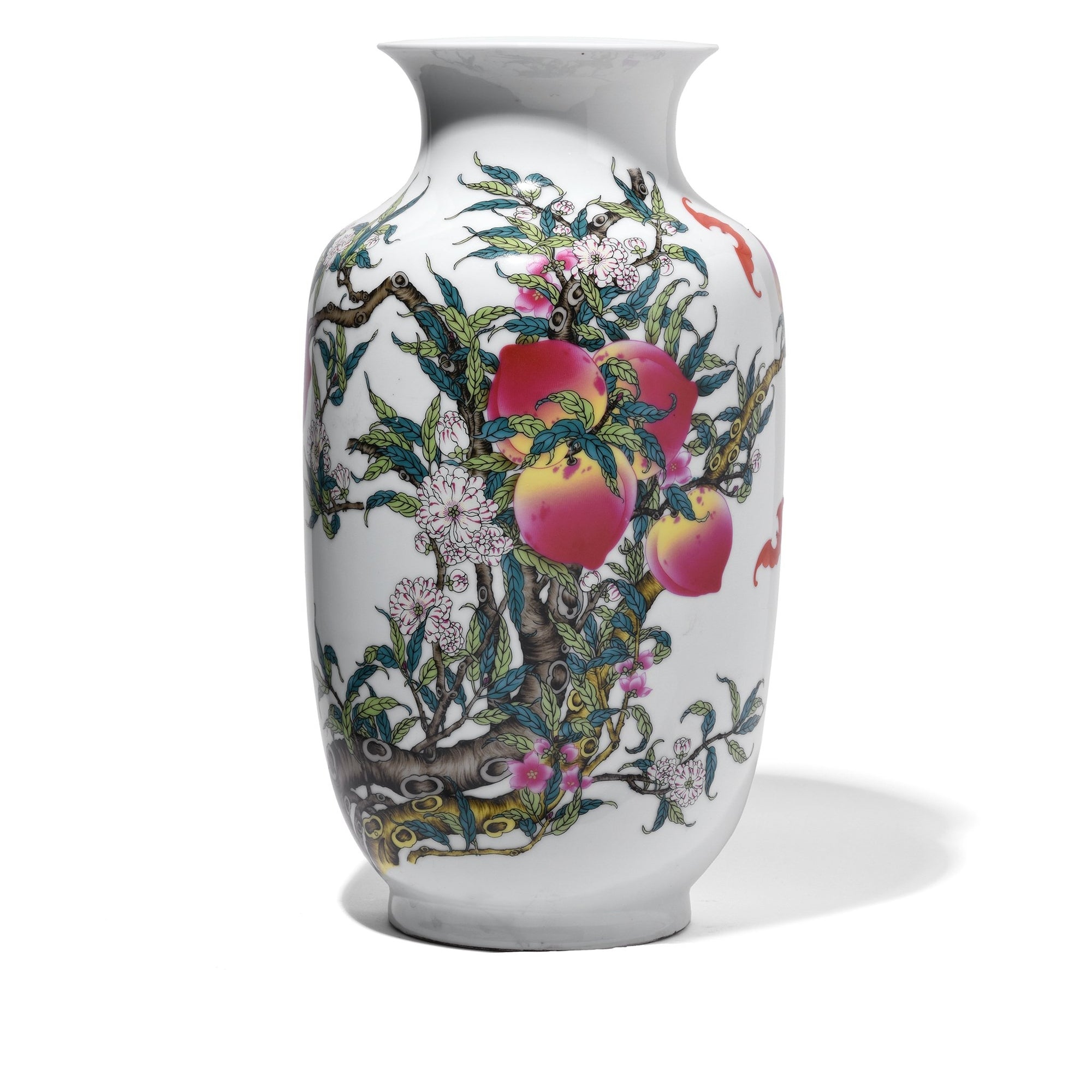 Chinese Reproduction Porcelain Rouleau Vase - Five Peach Design