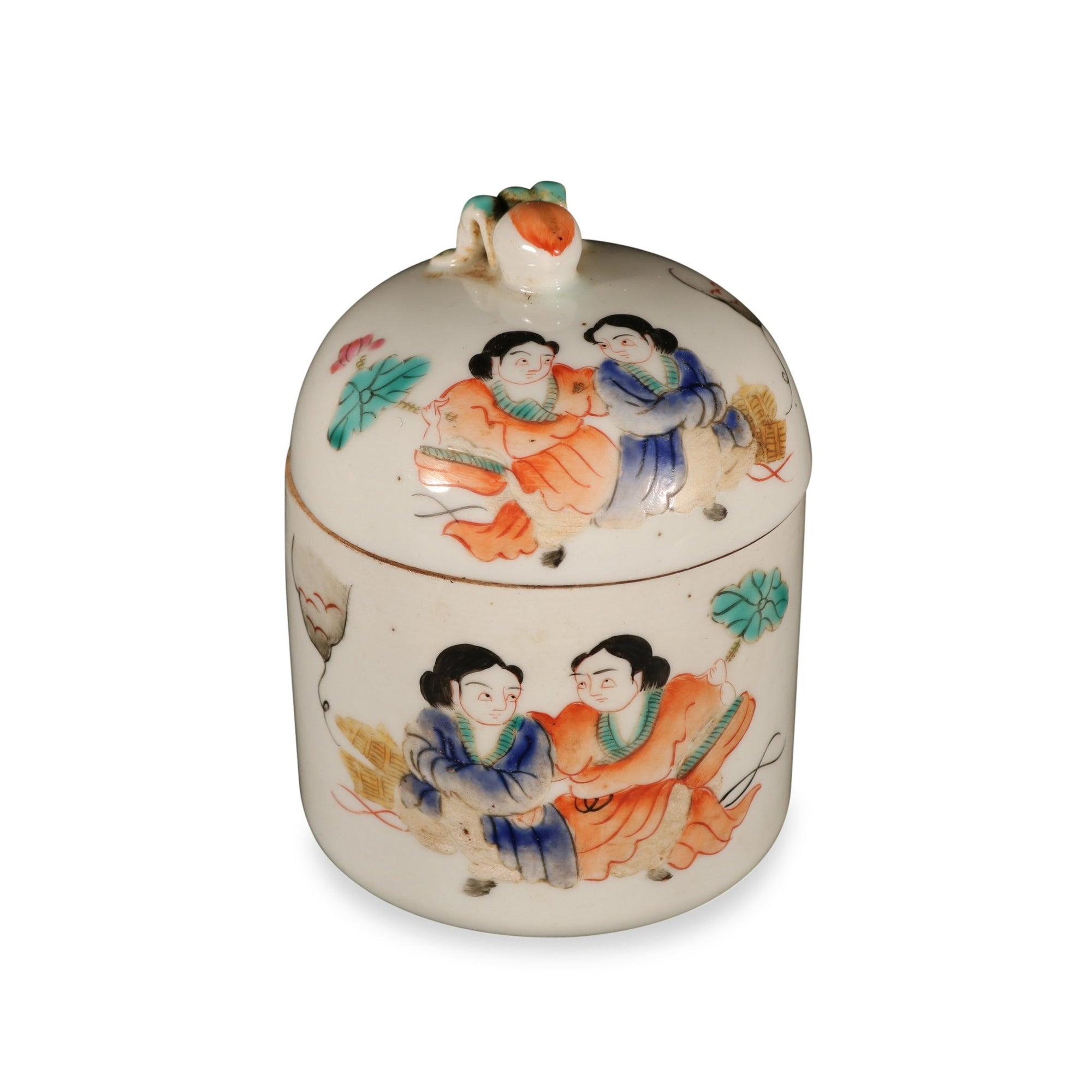 Porcelain Tea Caddy - Famille Rose Bird Design | Indigo Oriental Antiques