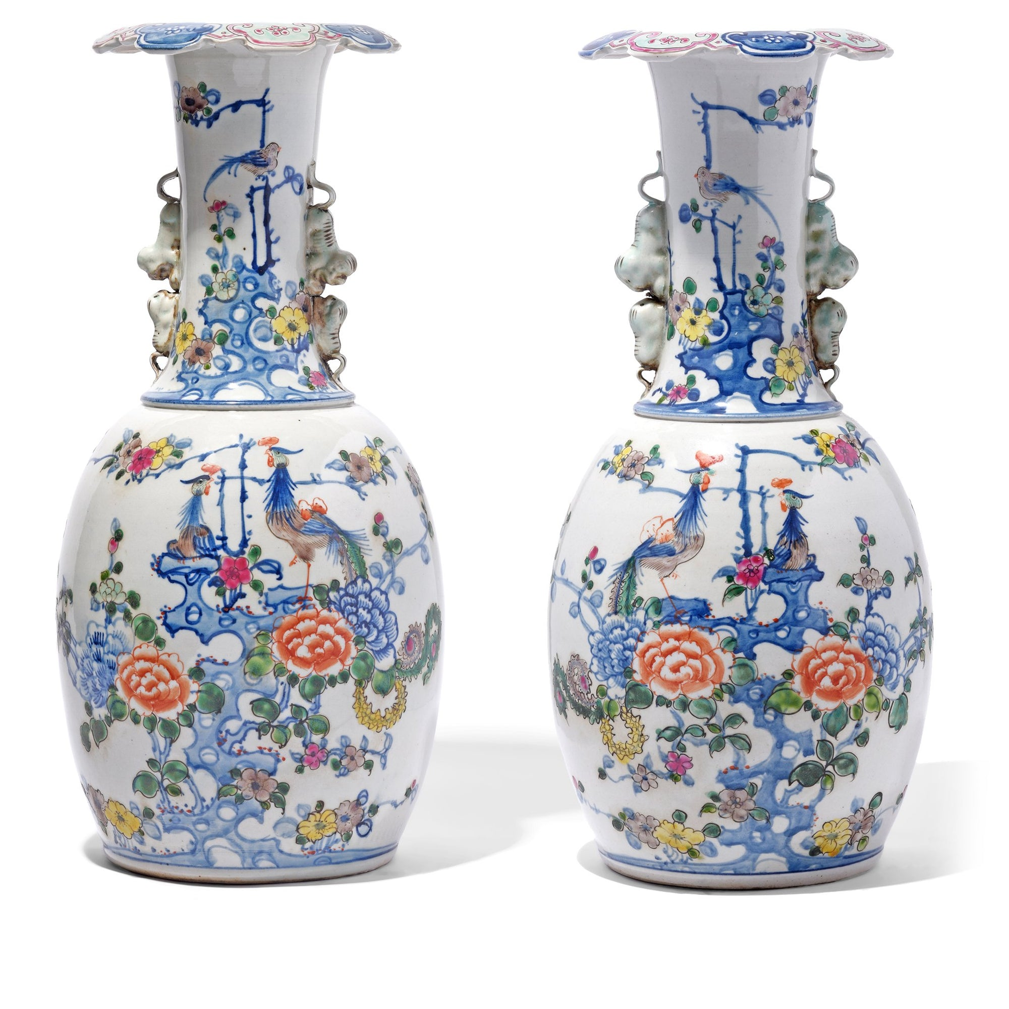 Right Facing Chinese Reproduction Porcelain Liuyeping Vase with peacock and floral design. | Indigo Antiques