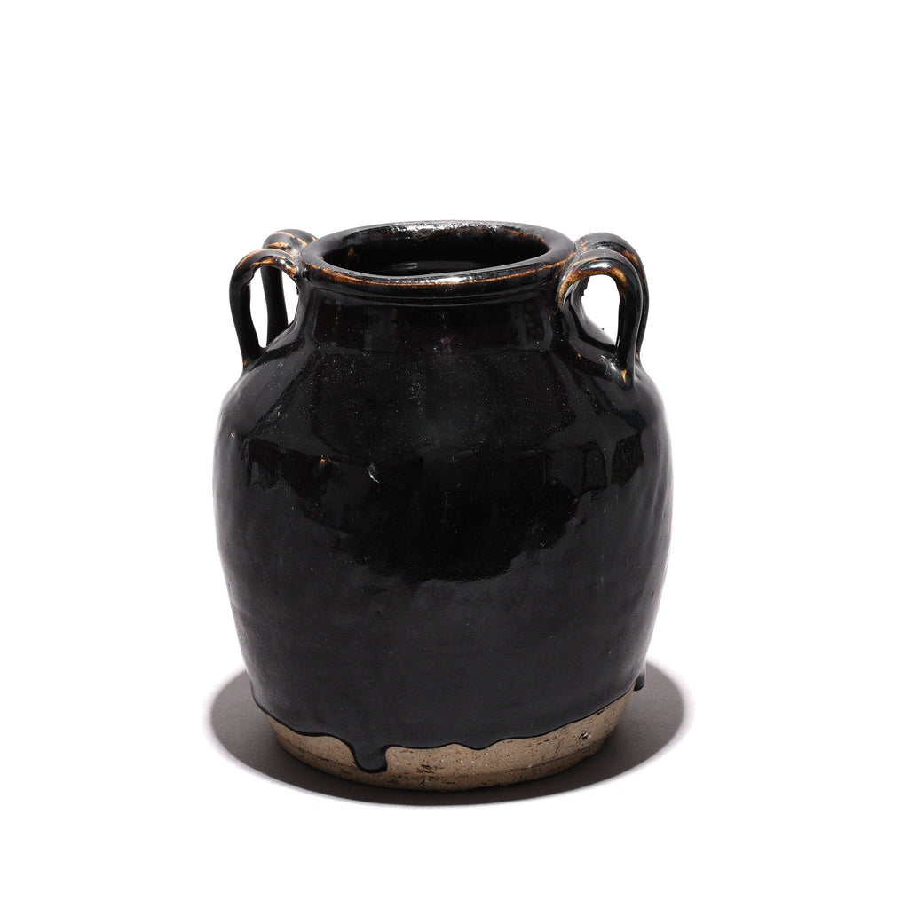 Vintage Black Glazed Earthenware Wine Jar From Shanxi