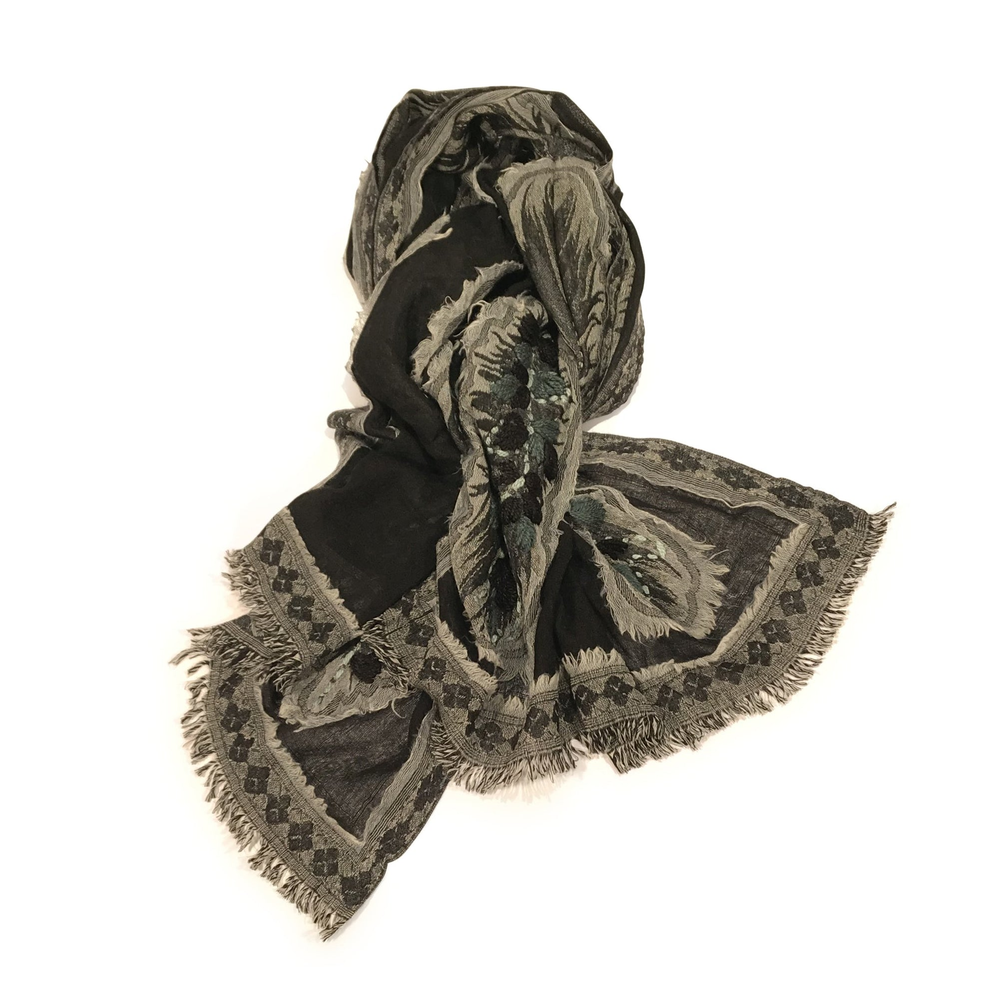Black And Grey Applique Scarf - Merino Wool | Indigo Oriental Antiques