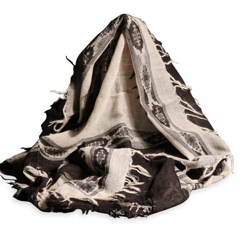 Black & Cream Ikat Scarf - Merino Wool