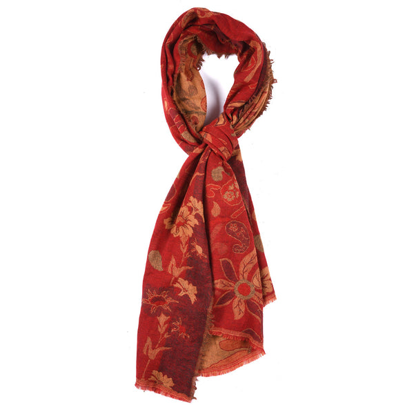 Red - Tudour Floral Scarf - Merino Wool