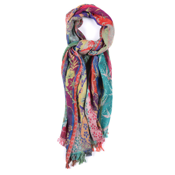 Turquoise Floral Dreams Scarf - Merino Wool