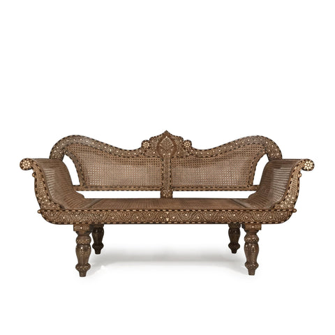 Caned Teak Sofa With Bone Inlay - Ca 80 yrs old