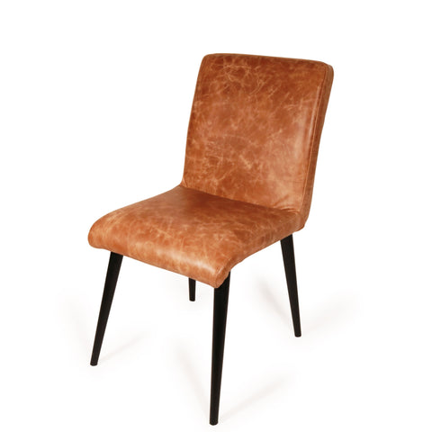 Retro Dining Chair With Tan Leather Seat