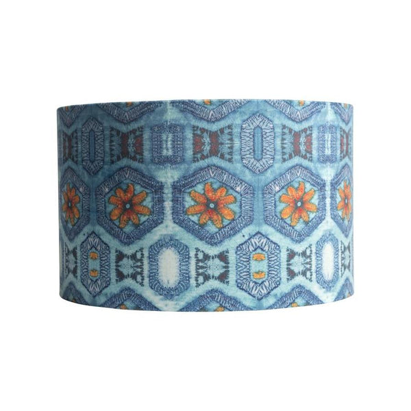 Blue & Tangerine Nui Burst Drum Lamp Shade
