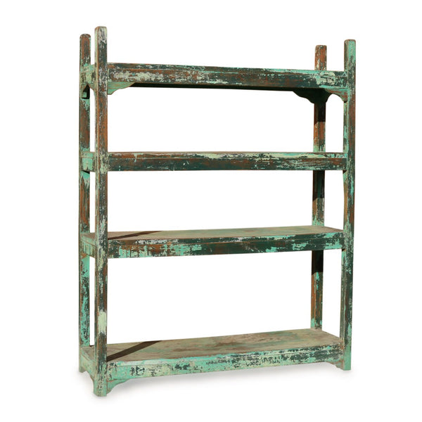 Vintage Painted Slat Shelf From India - Ca 1930