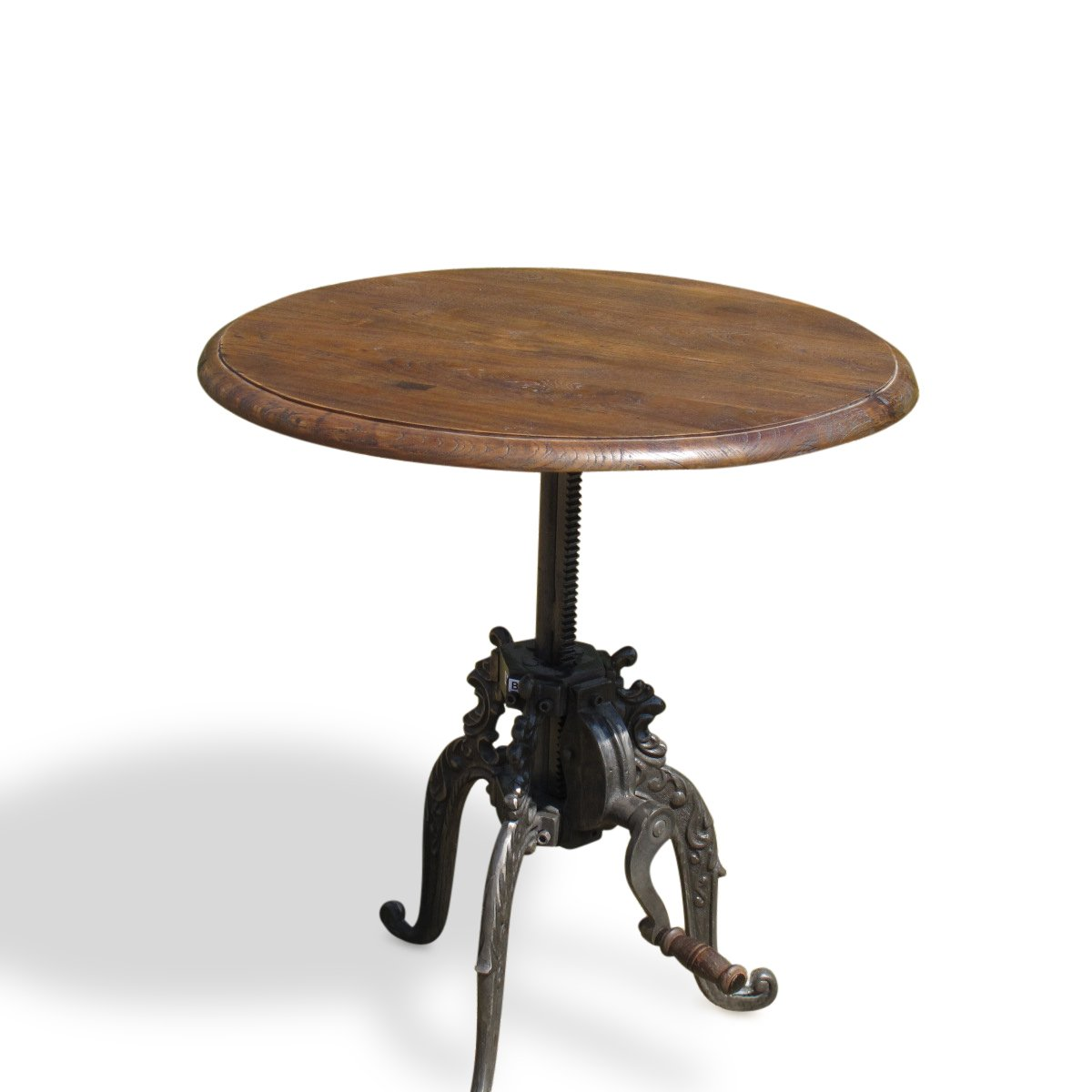 Adjustable Height Round Table - Industrial Style | Indigo Oriental Antiques