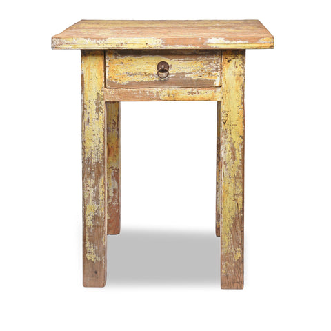 Country Table Made From Old Yellow Painted Pine