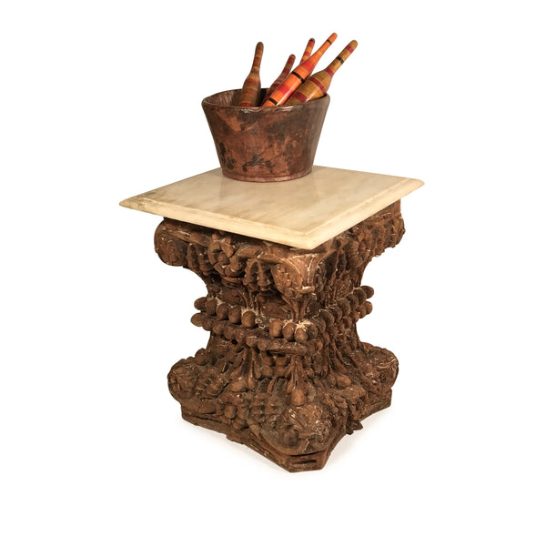 Marble Side Table Made From 19thC Carved Teak Capitols