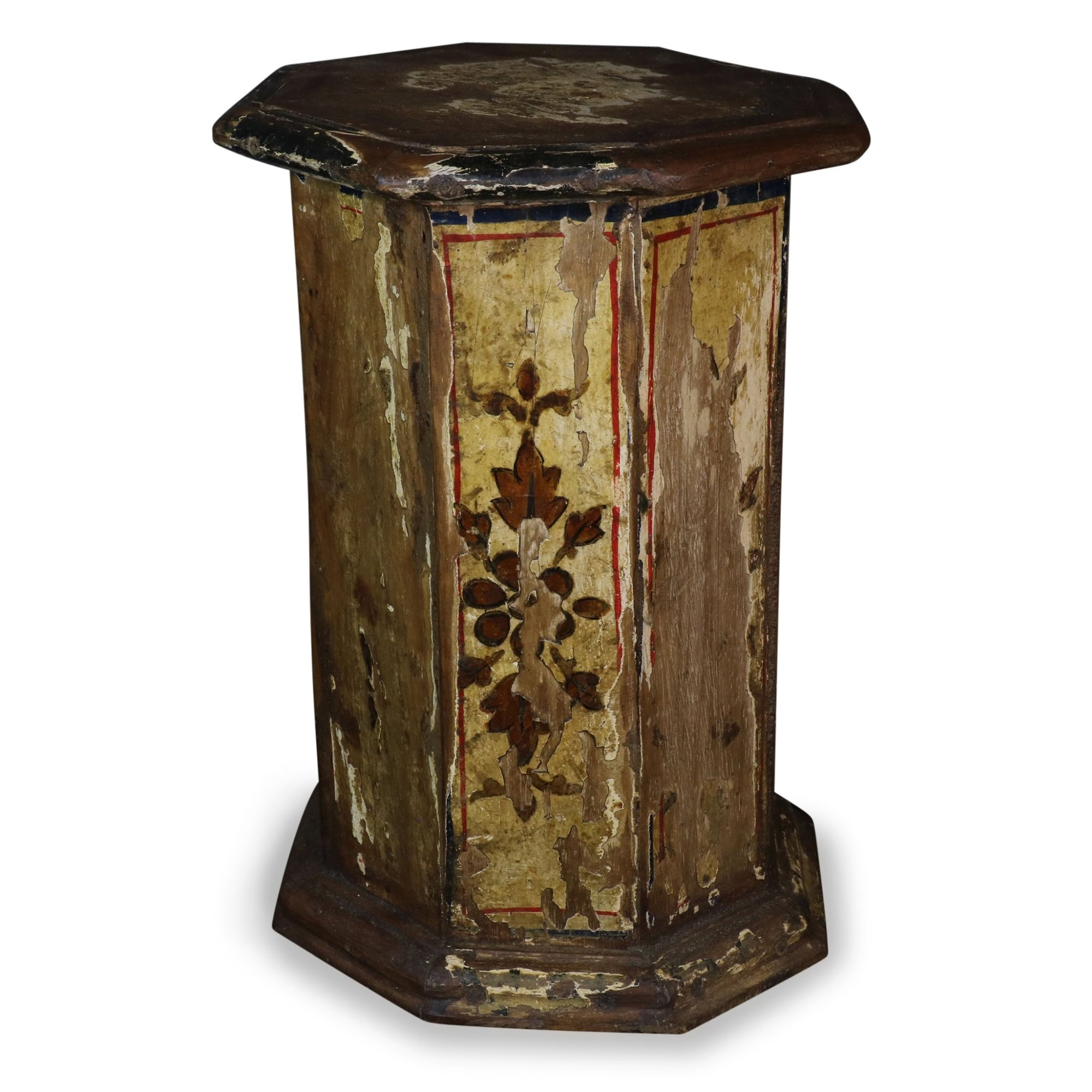 Mini Side Table Made from Old Painted Pillar From Gujarat | Indigo Oriental Antiques