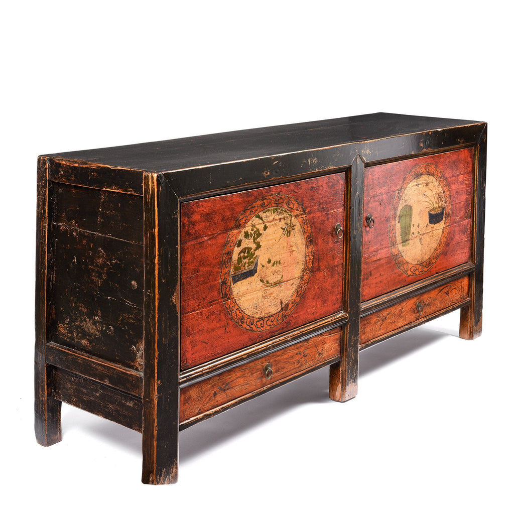 2 Door Traditional Painted Mongolian Sideboard - 19thC