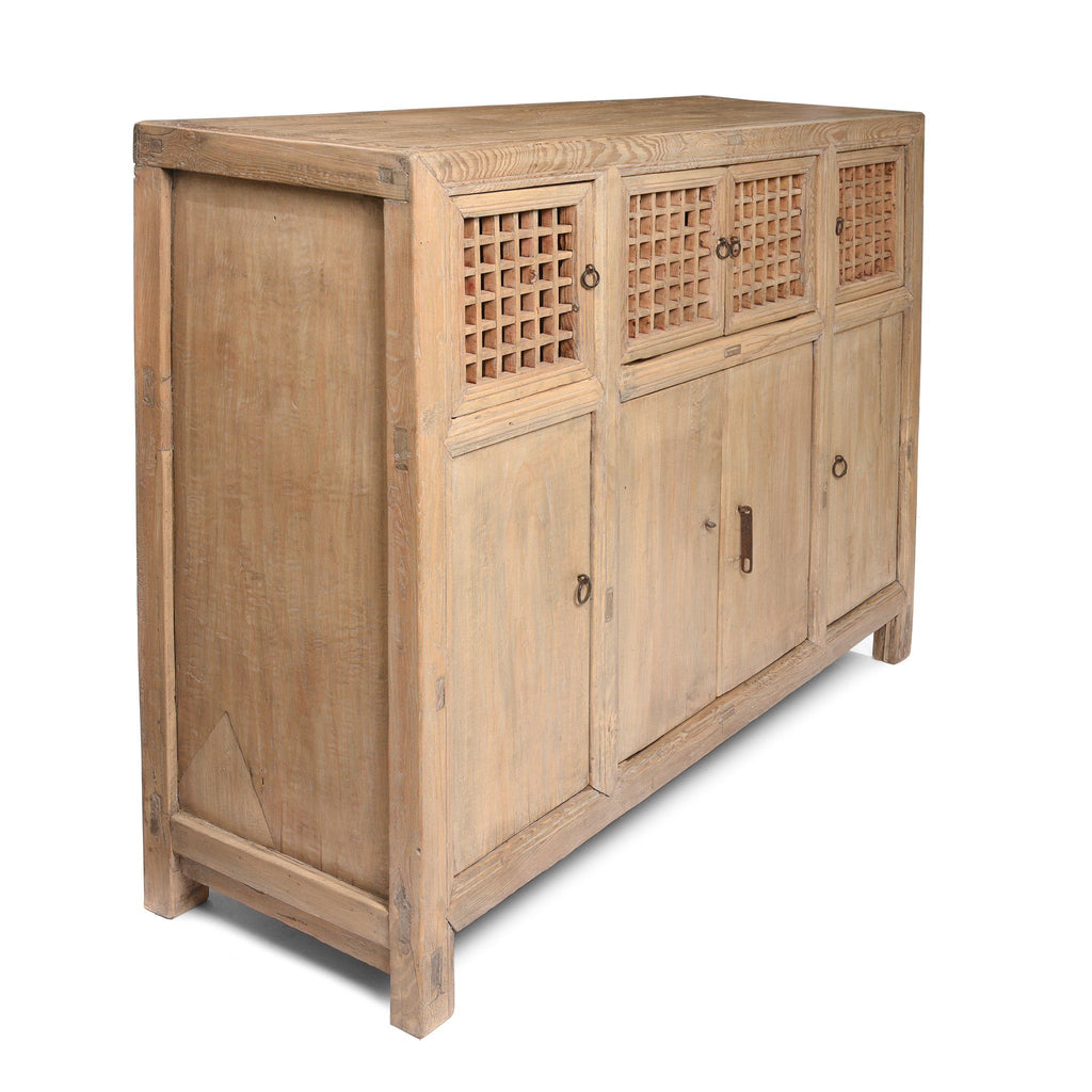 Bleached Lattice Noodle Cabinet From Tianjin - Late 19thC