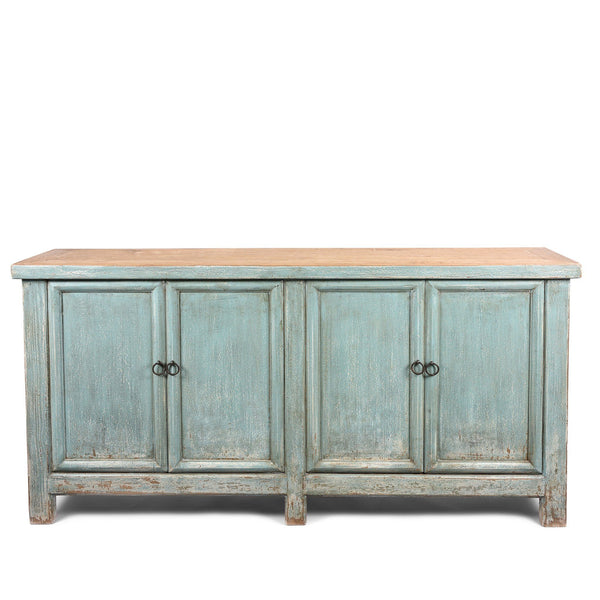 Blue 4 Door Sideboard Made From Reclaimed Pine