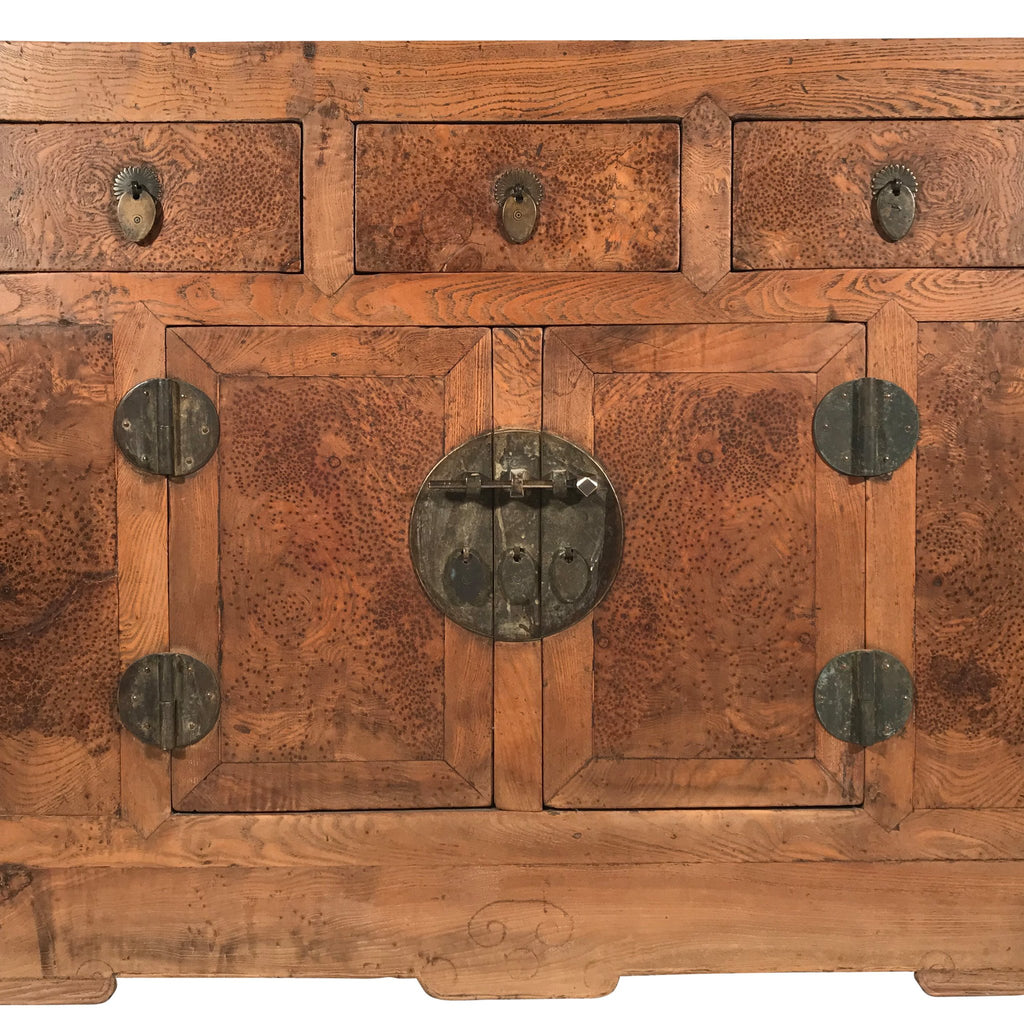 Burr Elm Chinese Sideboard From Tianjin - 19thC