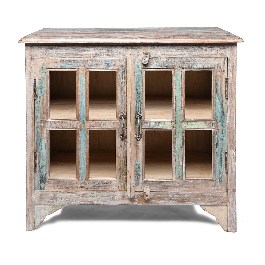 Glazed Book Cabinet Made From Painted Reclaimed Teak