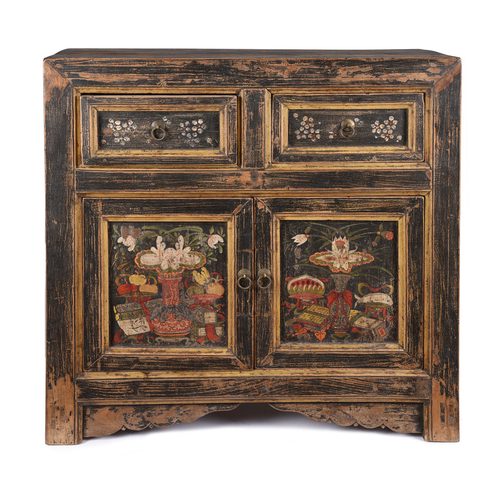 Mongolian Cabinet With Original Painting - 19thC