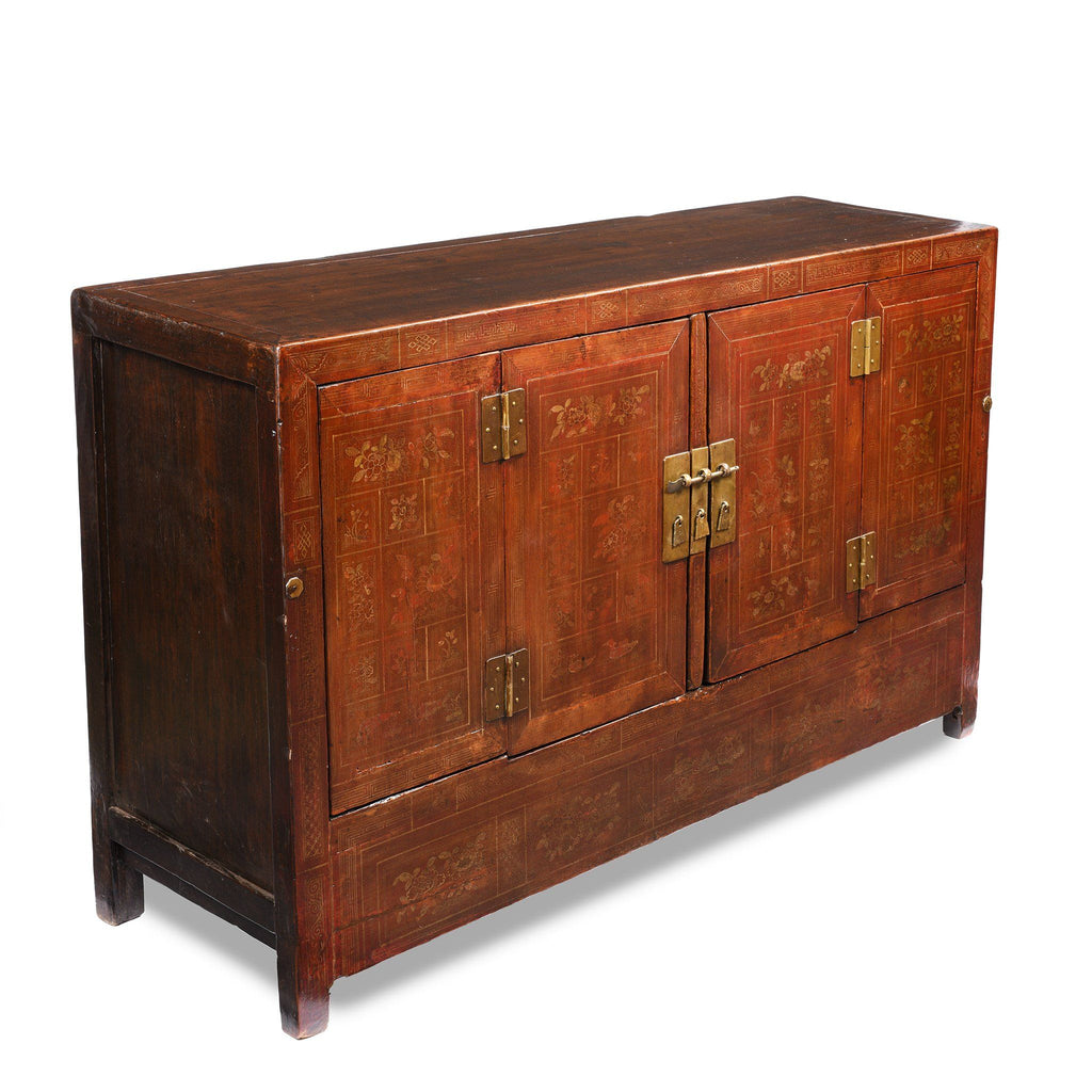 Orange Lacquer Sideboard From Dongbei - Ca 1920