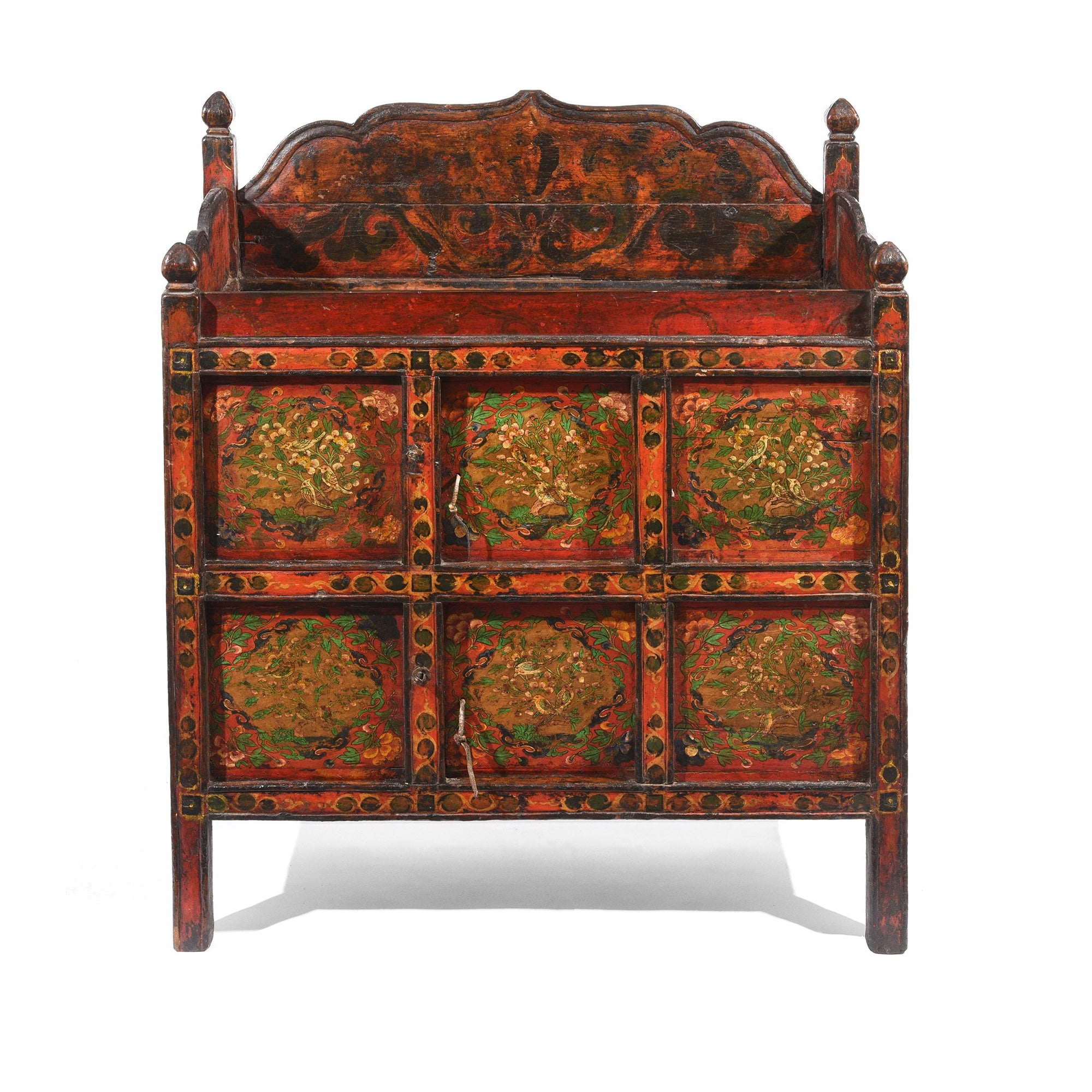 Painted Altar Cabinet From Tibet - 18thC