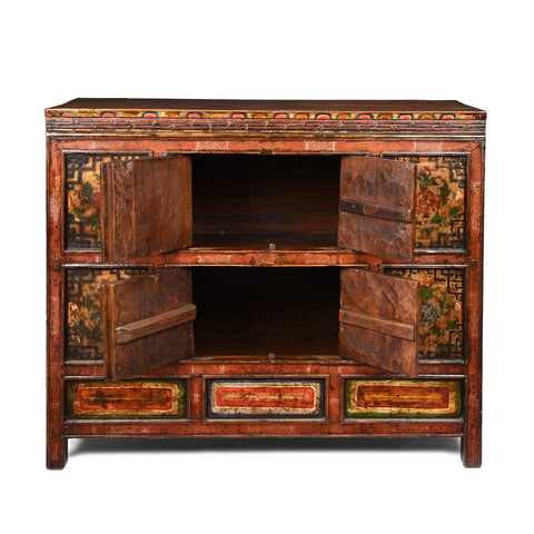 Painted Altar Cabinet From Tibet - 19thC