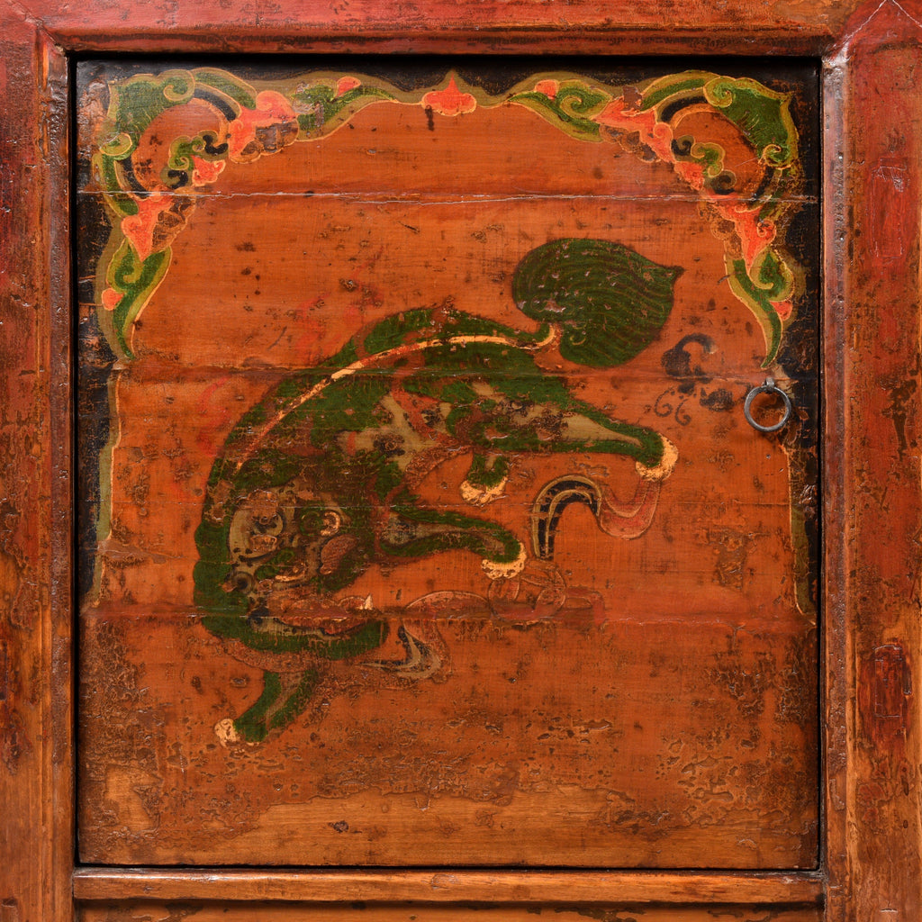 Painted Sideboard From Mongolia With Snow Lions - 19thC