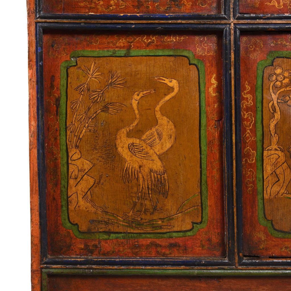 Painted Tibetan Cabinet From Shigatse - 19thC