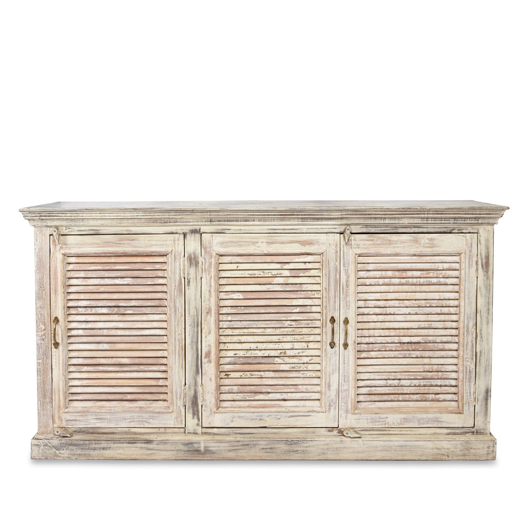 Reclaimed Painted 3 Door Louvre Sideboard From India