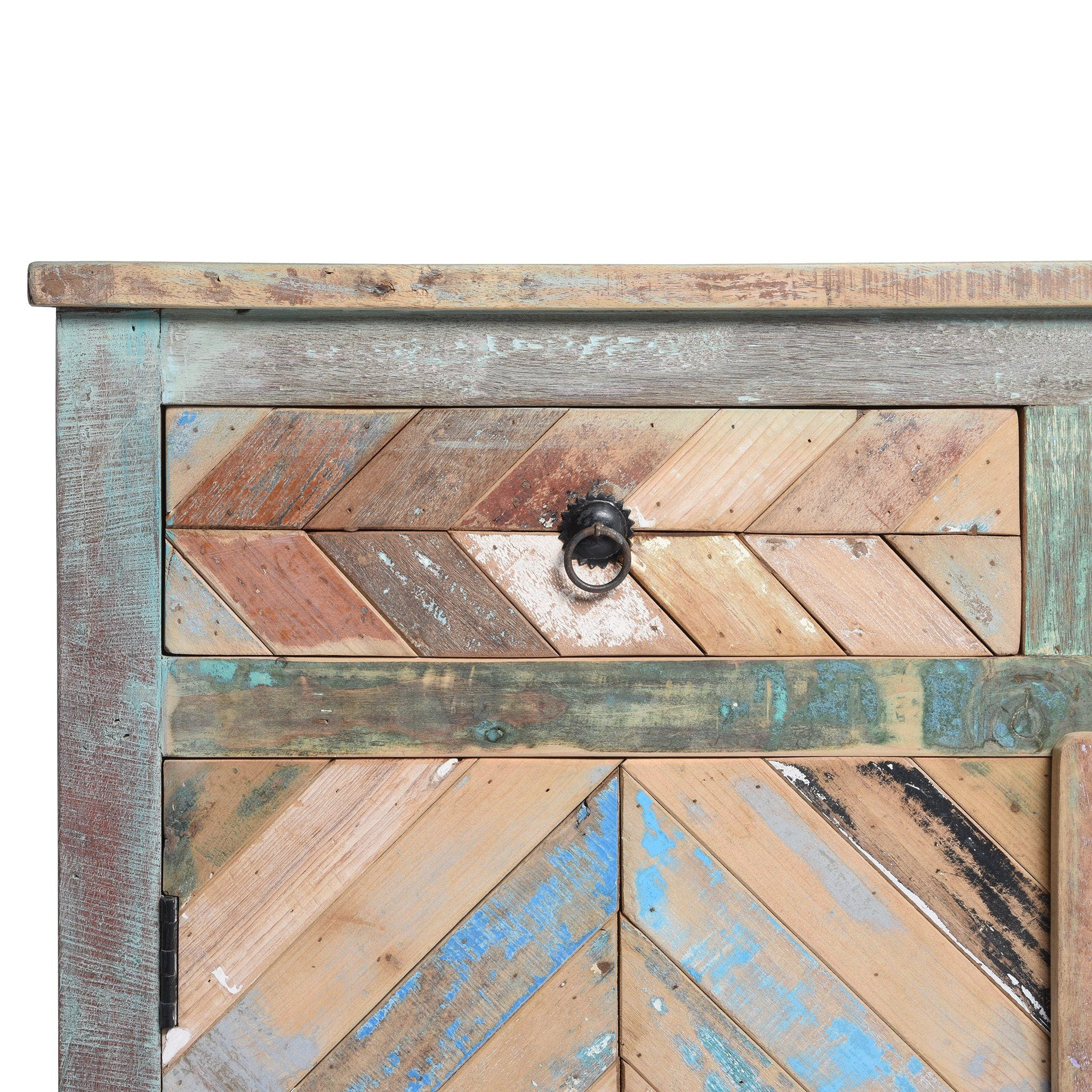 Reclaimed Teakwood Sideboard With Old Paint