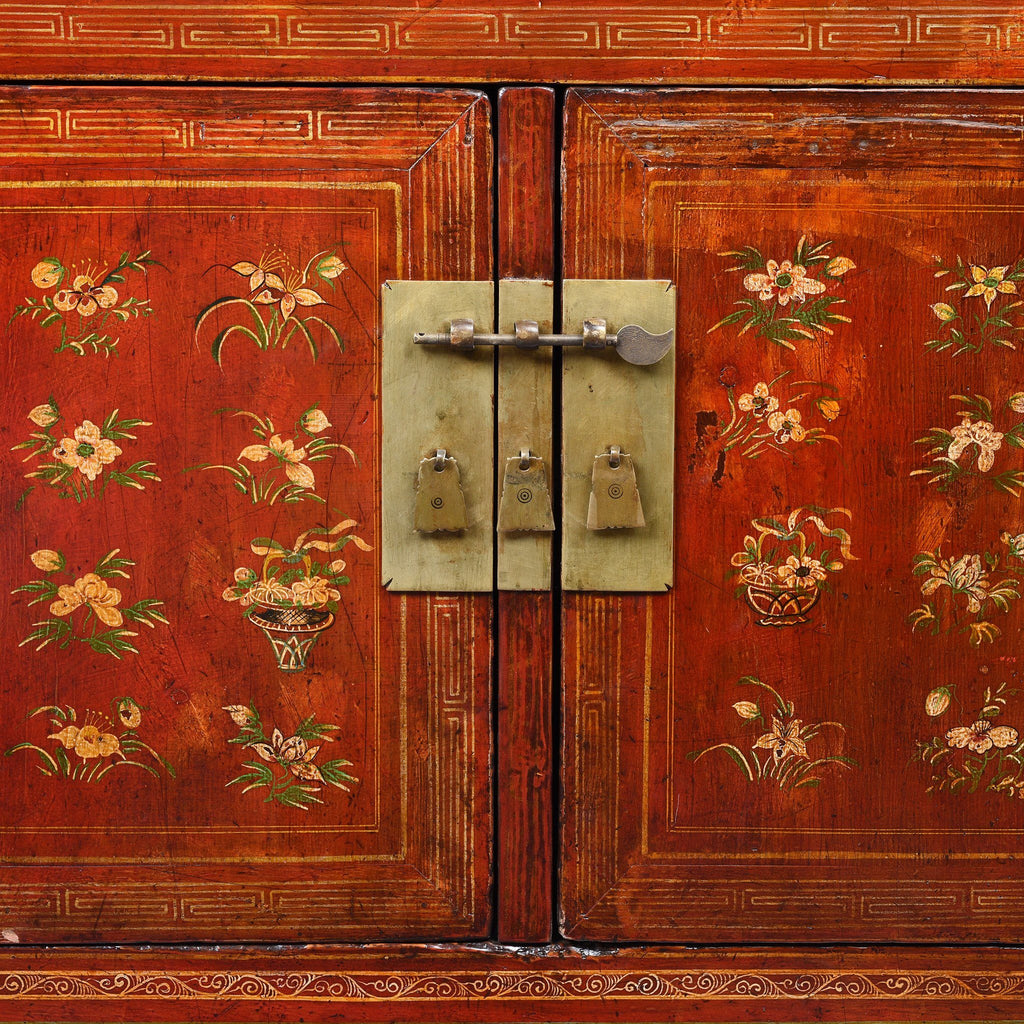 Red Lacquer Chinese Sideboard From Dongbei - Ca 1920