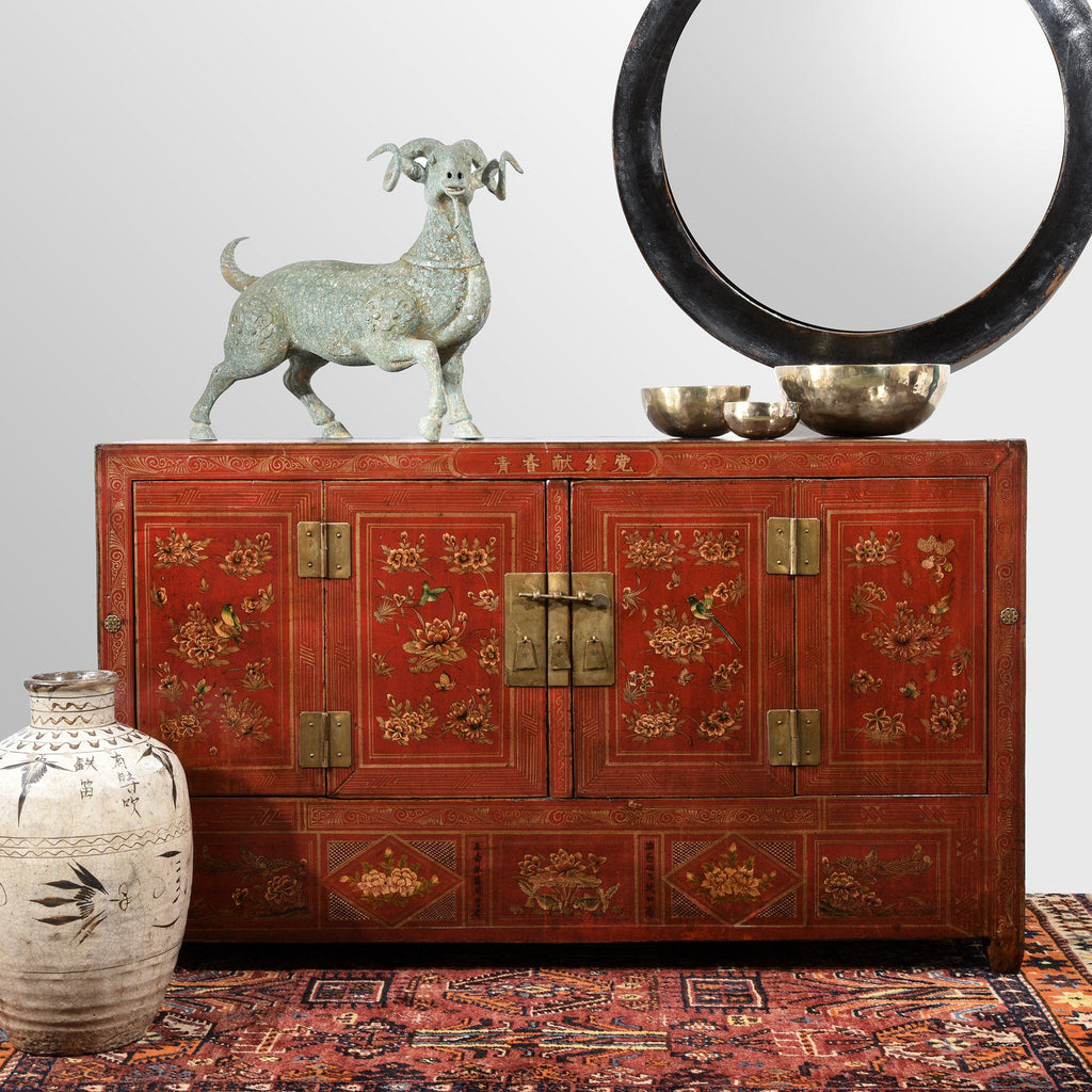 Red Lacquer Sideboard From Dongbei - Ca 1920