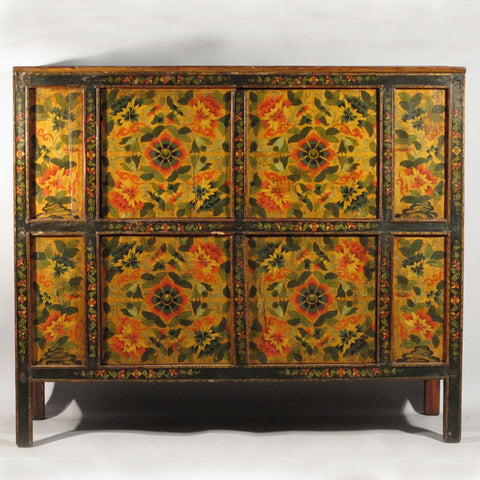 Tibetan Altar Cabinet With Original Painting - 19thC