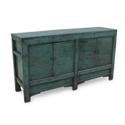 Turquoise Lacquer 4 Door Sideboard - Shanxi Style