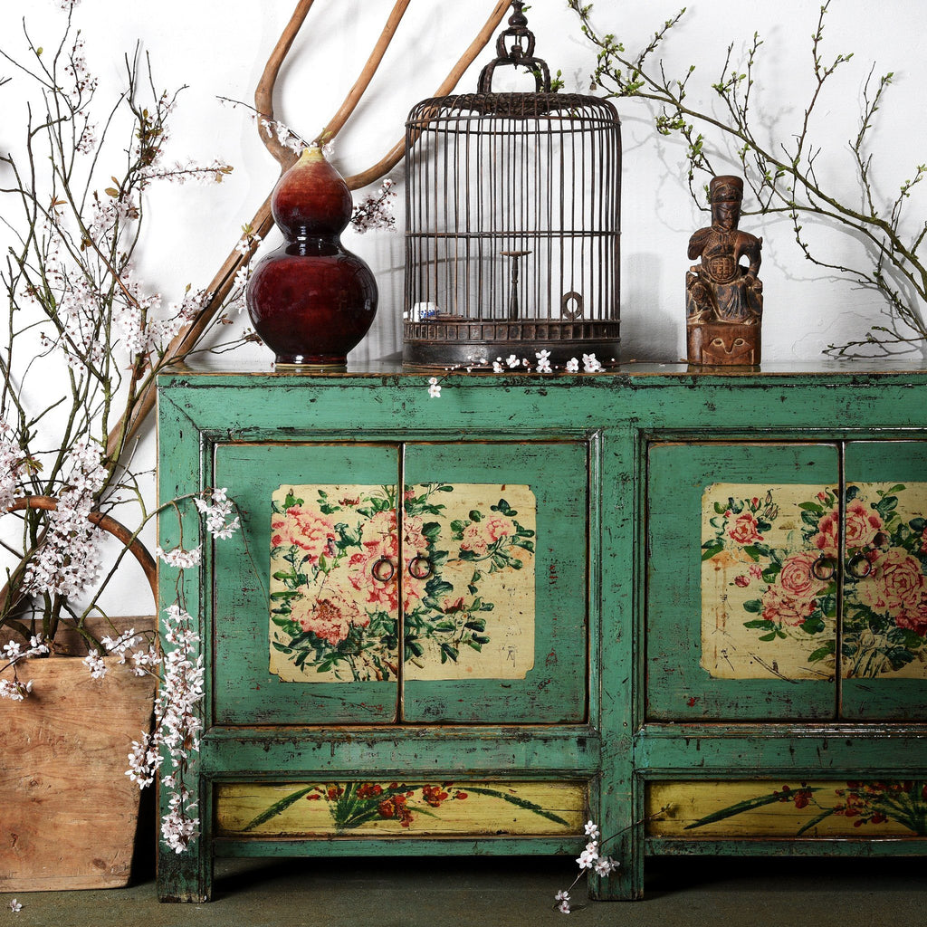 Vintage Mint Painted Sideboard From Shanxi - Ca 1930