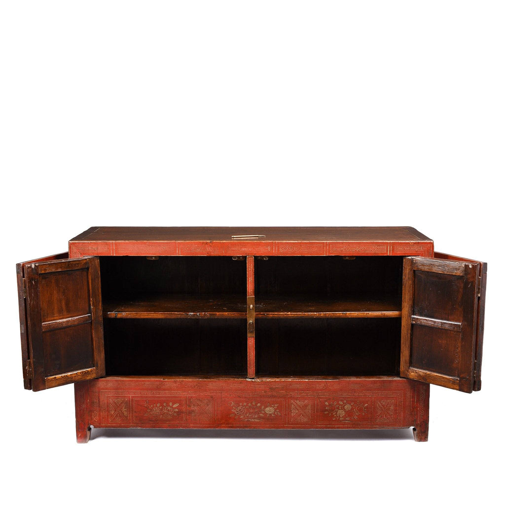 Vintage Red Lacquer Dongbei Sideboard - Ca 1920