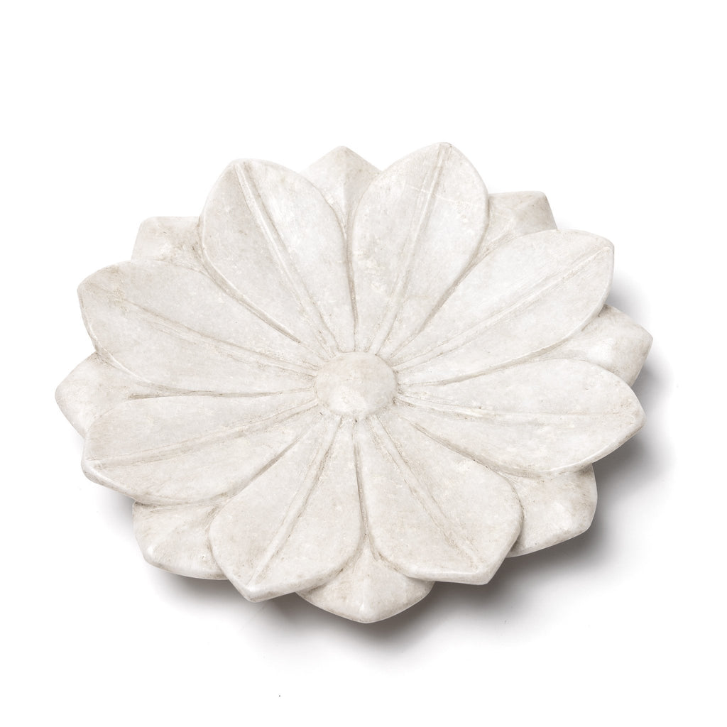 Hand Carved Marble Lotus Plate From Rajasthan