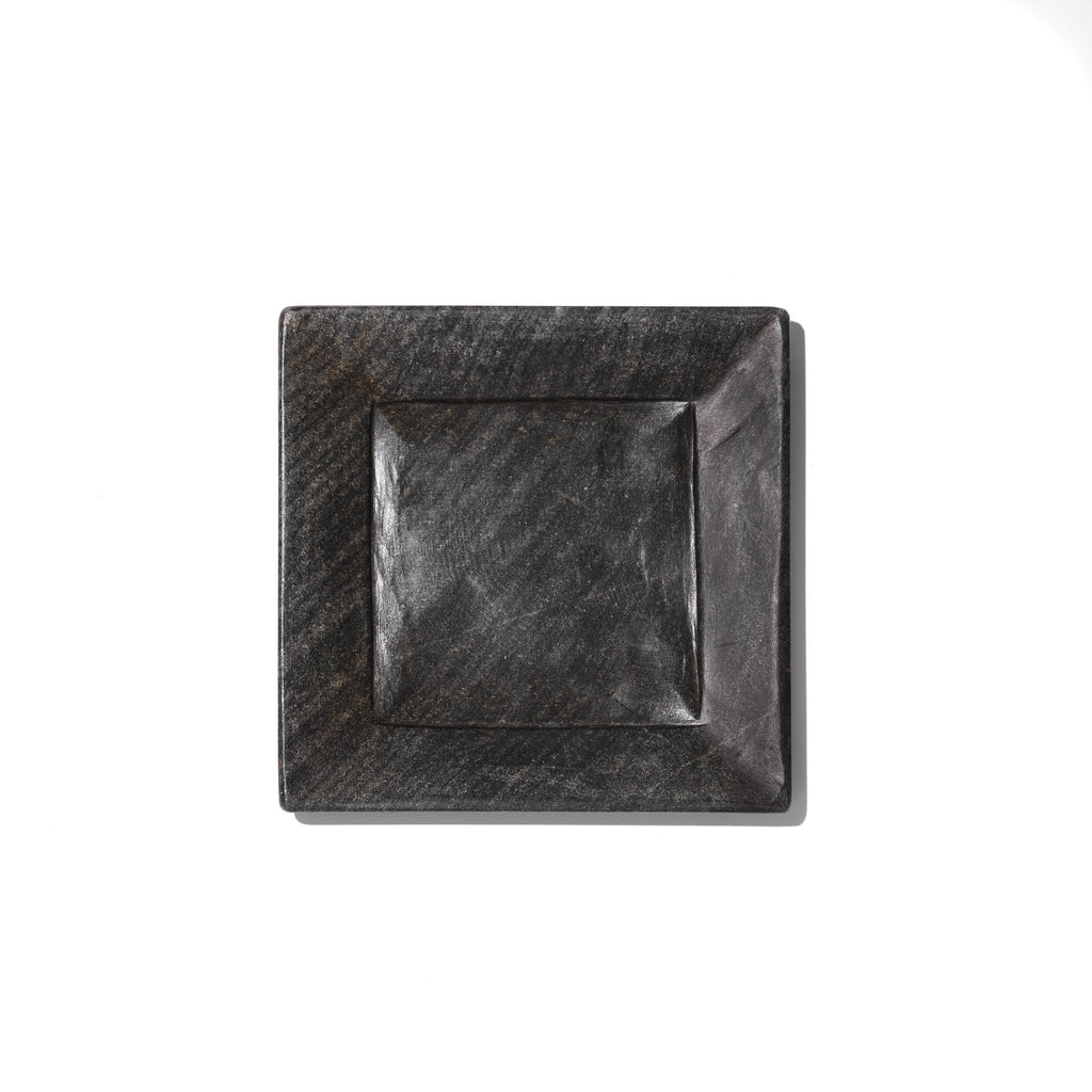 Square Carved Black Marble Set of Plates