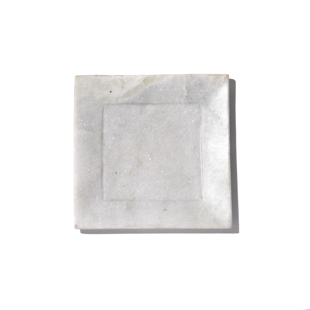 Square Carved White Marble Set of Plates