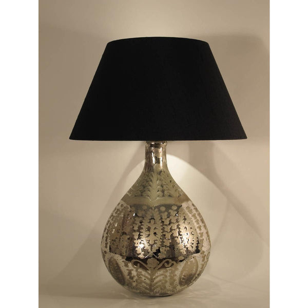 Engraved Silvered Glass Lamp Base with Antique Finish